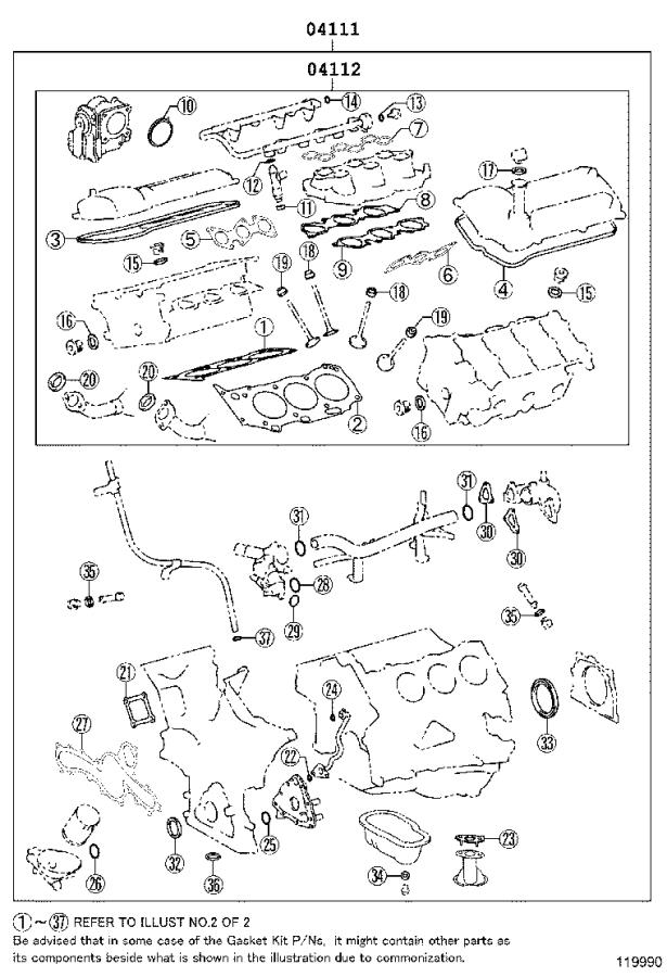 2001 Toyota Tundra Engine Gasket Set  Gasket Kit  Engine