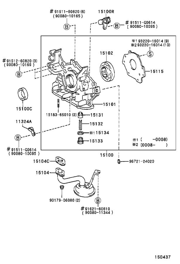 2002 Toyota Sienna Engine Oil Pump Cover  System