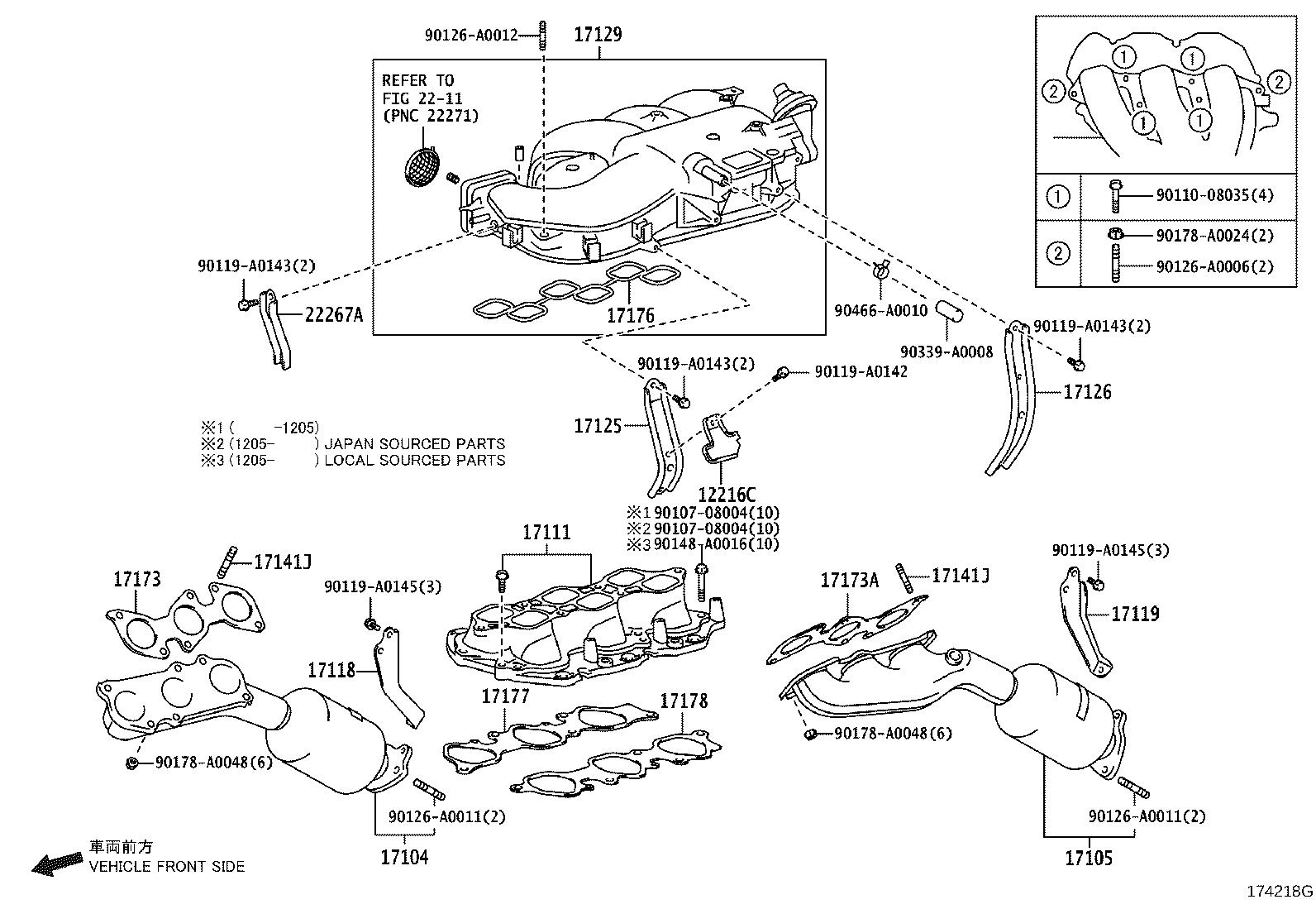 2010 toyota tacoma catalytic converter with integrated exhaust manifold  right
