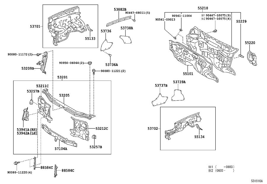 2002 toyota sequoia support sub-assembly  radiator  interior  body