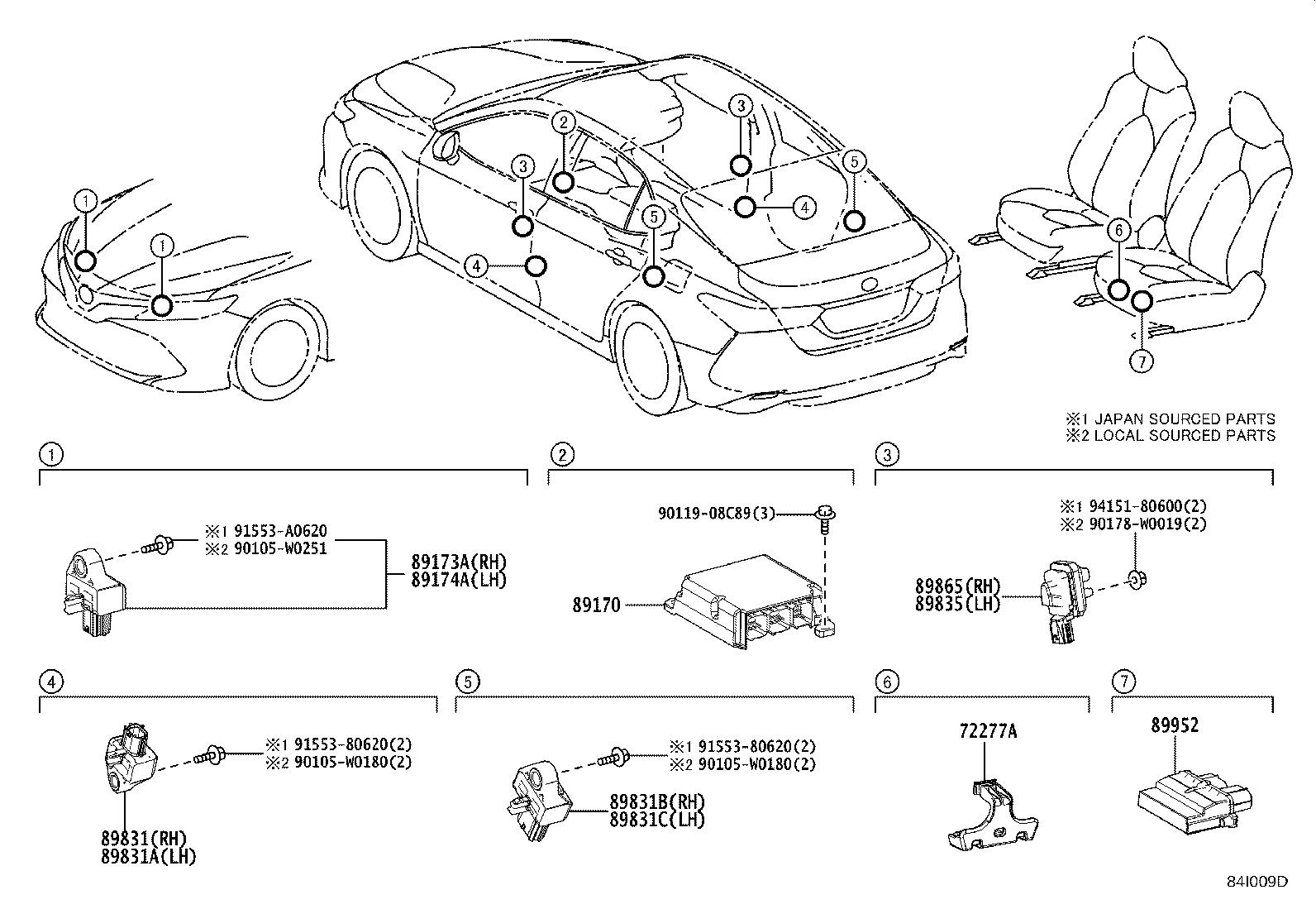 2019 Toyota Camry Air Bag Impact Sensor  Left  Right  Front
