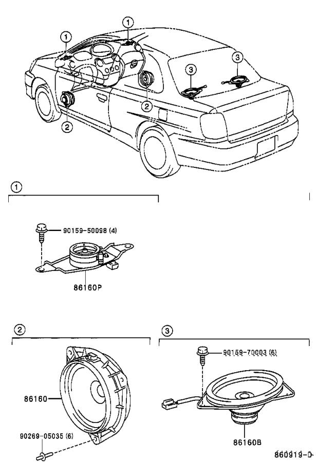 2001 toyota echo speaker  front   electrical