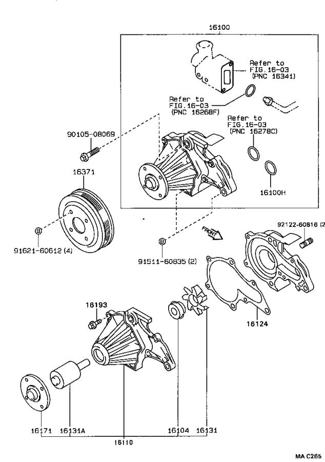 toyota corolla pump assembly  water  without coupling