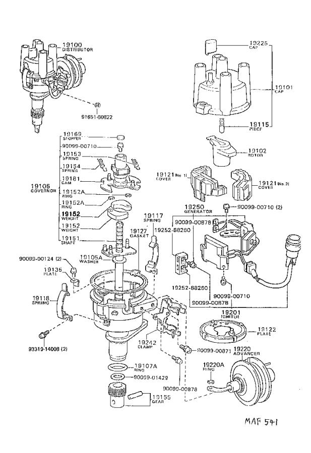 toyota starlet cap sub-assembly  distributor  ignition  engine
